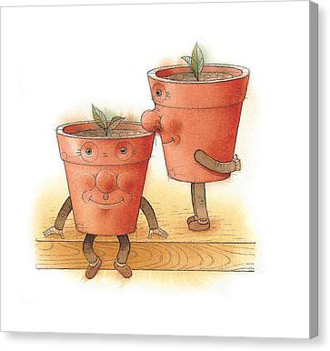 Two Flowerpots02 Canvas Print by Kestutis Kasparavicius