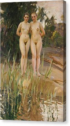 Woman Nude Canvas Print - Two Friends  by Anders Leonard Zorn