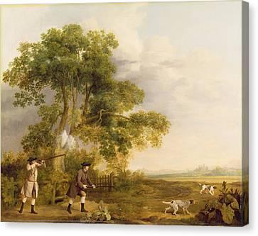 Two Gentlemen Shooting  Canvas Print by George Stubbs