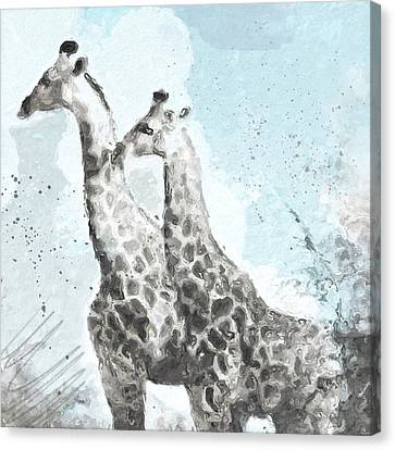Two Giraffes- Art By Linda Woods Canvas Print by Linda Woods