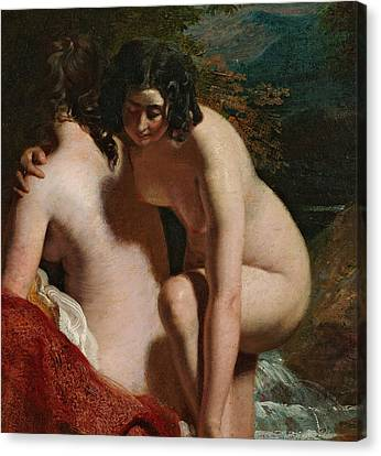 Two Girls Bathing Canvas Print by William Etty