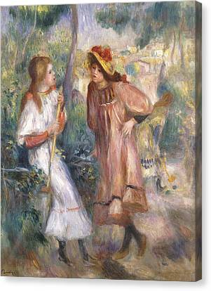 Two Girls In The Garden At Montmartre Canvas Print by Pierre Auguste Renoir