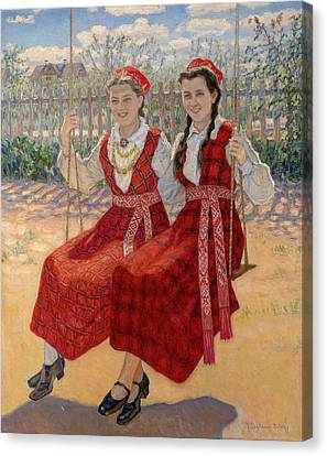 Two Girls On A Swing Canvas Print