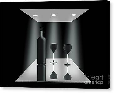 Glass Table Reflection Canvas Print - Two Glasses And A Bottle by Peter McHallam