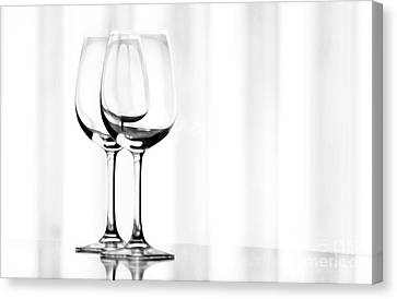 Wine Reflection Art Canvas Print - Two Glasses by Dan Holm
