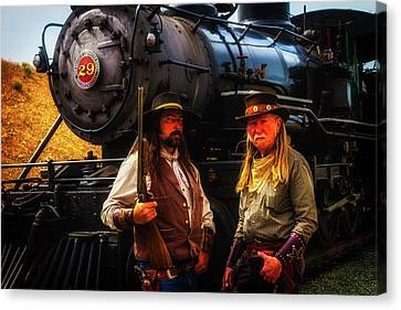 Two Gunfighters In Front Of Train Canvas Print