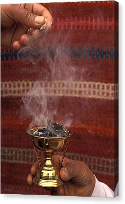 Two Hands Burn Traditional Spices Canvas Print