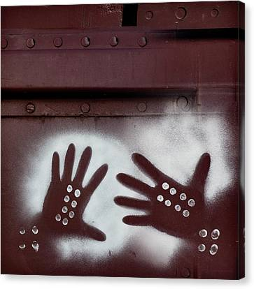 Two Hands On A Train Graffiti Canvas Print by Carol Leigh