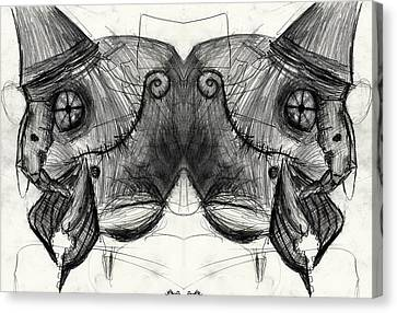 Two Headed Cyborg Undead Bird Brain Parrot Machine  Canvas Print by Don Lee