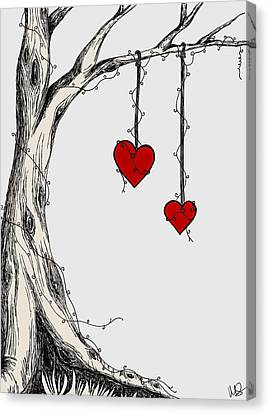 Two Hearts Graphic Canvas Print by Melissa Smith