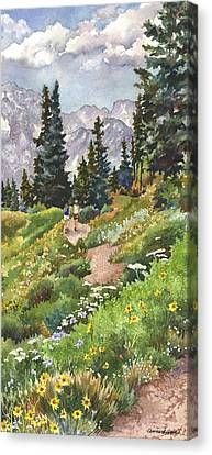 Canvas Print featuring the painting Two Hikers by Anne Gifford