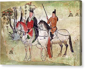 Two Horsemen In A Landscape Canvas Print by Chinese School