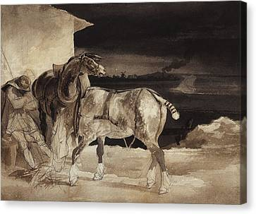 Two Horses And A Sleeping Groom  Canvas Print by Theodore Gericault