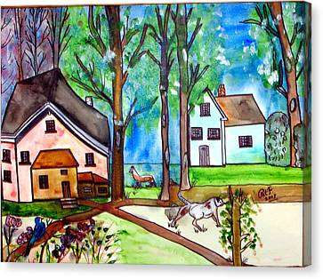 Two Houses In The Woods. Canvas Print by Patricia Fragola