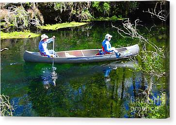 Two In A Canoe Canvas Print by David Lee Thompson
