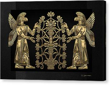 Canvas Print featuring the digital art Two Instances Of Gold God Ninurta With Tree Of Life Over Black Canvas by Serge Averbukh
