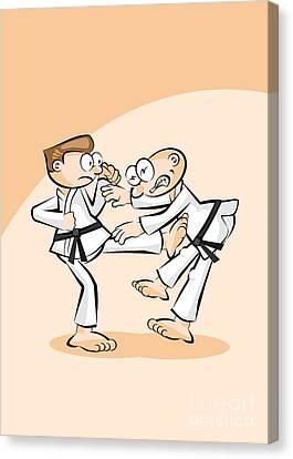 Karate Canvas Print - Two Karate Fighters Exchange Offensive And Defensive Hits by Daniel Ghioldi