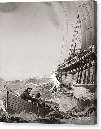 Water Vessels Canvas Print - Two King's Messengers Attempt To Row Into The Harbor At Calais  by Pat Nicolle