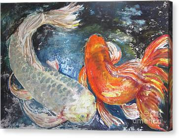 Canvas Print featuring the painting Two Koi by Susan Herbst