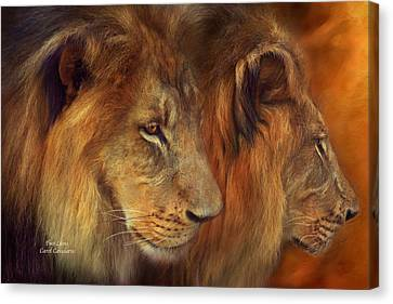 Two Lions Canvas Print by Carol Cavalaris