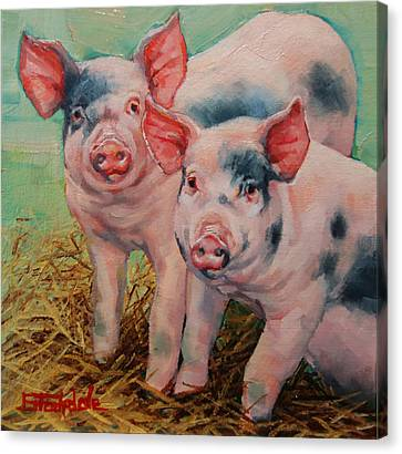 Two Little Pigs  Canvas Print by Margaret Stockdale