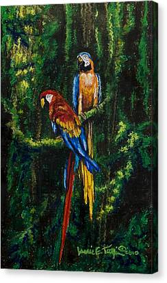 Two Macaws In The Rain Forest Canvas Print by Laurie Tietjen