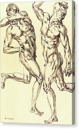 Two Male Nude Studies Canvas Print by Baccio Bandinelli