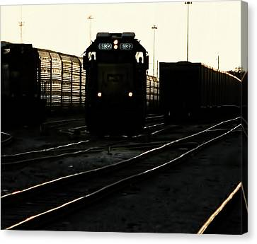 Csx Train Canvas Print - Two Men And 6132 by Marvin Spates