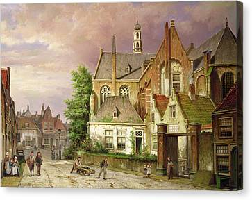 Two Men With A Cart Canvas Print by Willem Koekkoek