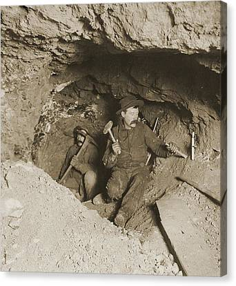 Two Miners Taking Out Ore In Tunnel Canvas Print by Everett