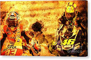Two Motorcycles In Race Hard Fight Canvas Print by Pablo Franchi