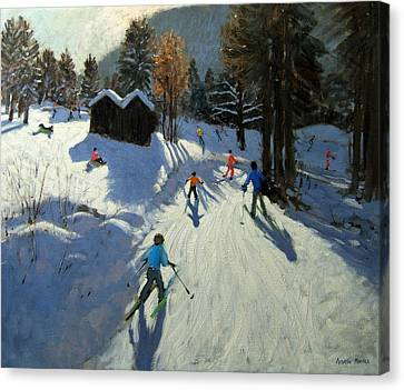Two Mountain Huts Canvas Print by Andrew Macara