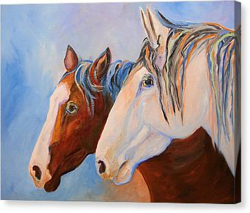 Two Mustangs Canvas Print by Mary Jo Zorad