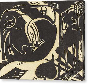 Two Mythical Animals Canvas Print by Franz Marc