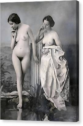 Two Nude Victorian Women At The Baths C. 1851 Canvas Print by Daniel Hagerman