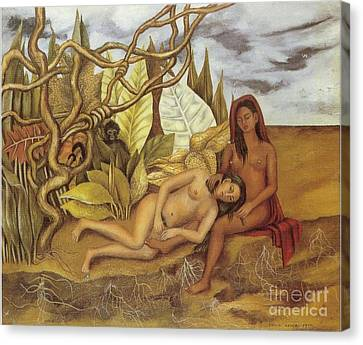 Two Nudes In The Forest Canvas Print