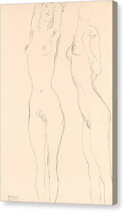Two Nudes The Left One With Raised Arms  Canvas Print