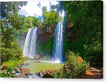 Two Of 275 Waterfalls In Iguazu Falls National Park-argentina   Canvas Print by Ruth Hager