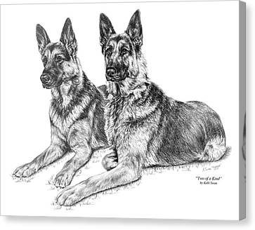 Two Of A Kind - German Shepherd Dogs Print Canvas Print