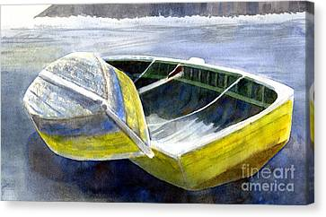 Two Old Boats On The Beach Canvas Print by Sharon Freeman