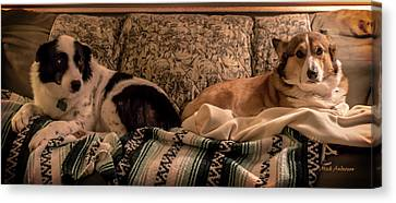 Two On The Couch Canvas Print by Mick Anderson
