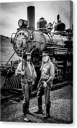 Two Outlaws And Steam Train Canvas Print