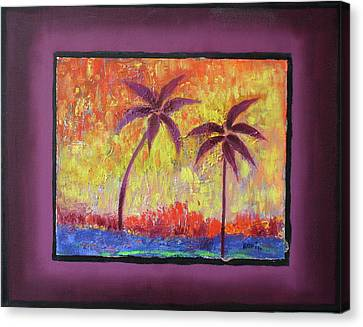 Canvas Print featuring the painting Two Palm Trees by Karin Eisermann