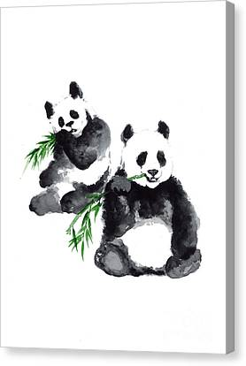 Two Pandas Watercolor Painting Canvas Print by Joanna Szmerdt