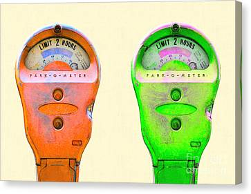 Kitschy Canvas Print - Two Park-o-meter Parking Meter . One Hour Limit by Wingsdomain Art and Photography