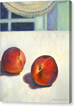 Two Peaches At Night Canvas Print by Jane  Simonson