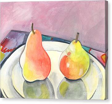 Two Pears Canvas Print by Helena Tiainen