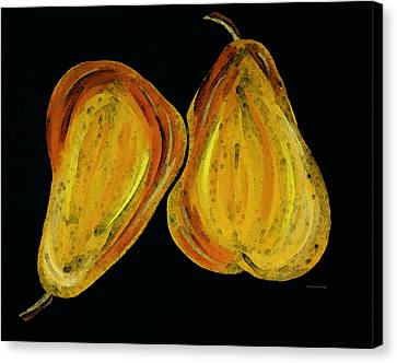 Two Pears - Yellow Gold Fruit Food Art Canvas Print