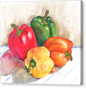 Two Peppers Canvas Print by Diane Ziemski