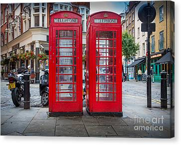 Two Phone Booths In London Canvas Print by Inge Johnsson